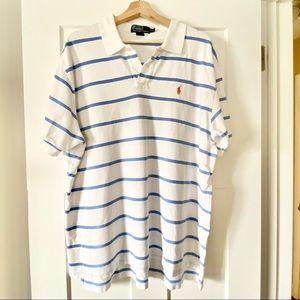 Classic Polo Ralph Lauren White Striped Polo Shirt